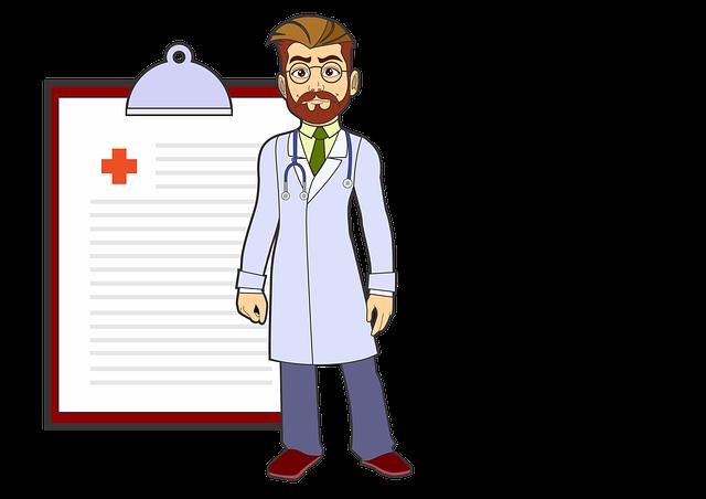 Doktor mit Tafel
